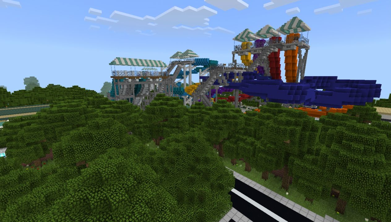 Mega Water park MCPE Map. Amusement Park