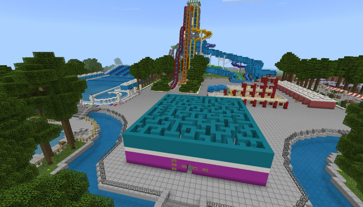 image for 3Mega Water park MCPE Map. Amusement Park