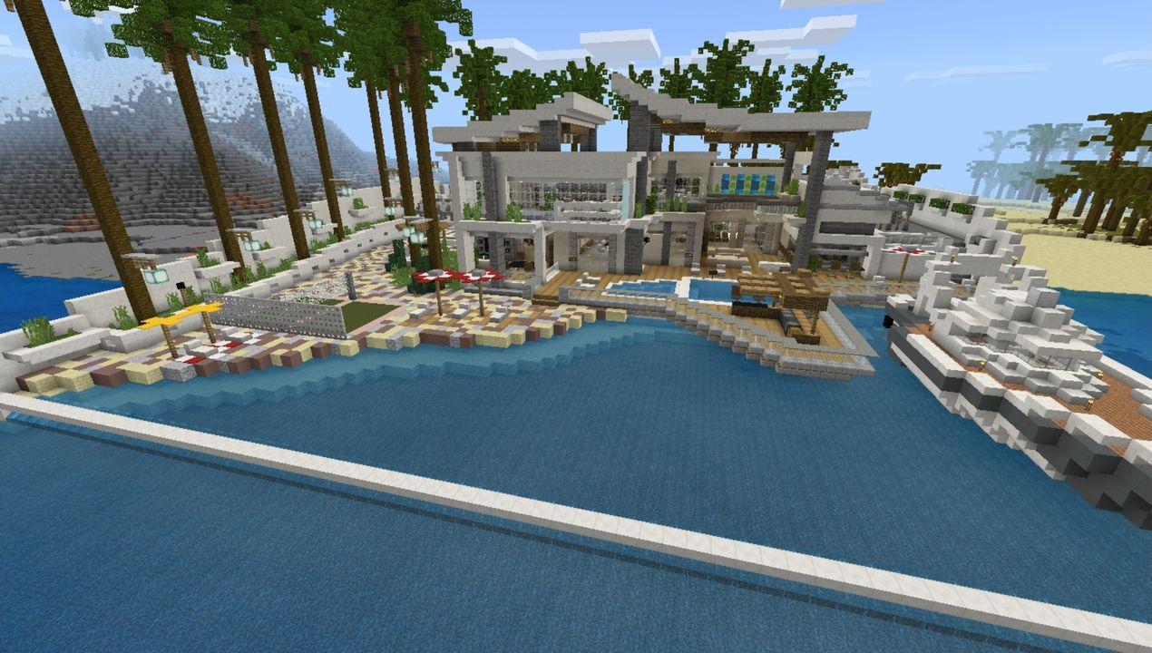 Modern Redstone Mega Mansion MCPE map