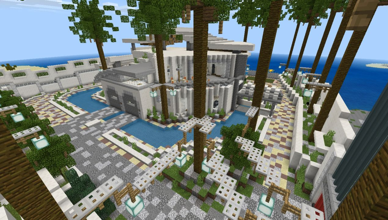 Modern Redstone Mega Mansion MCPE map - All for Minecraft PE game
