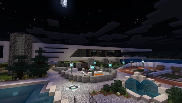 Immense Modern Mansion Island House MCPE map