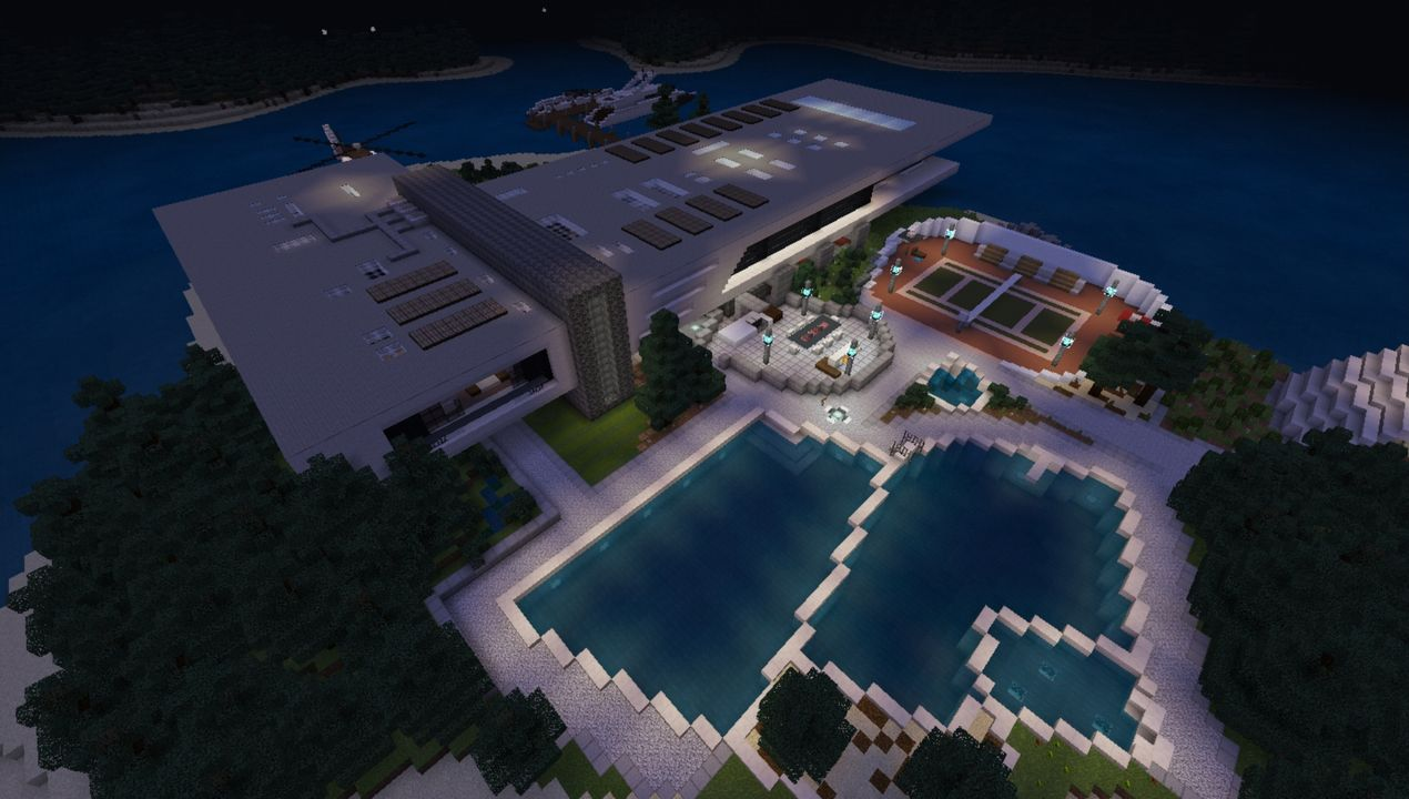 Immense Modern Mansion Island House Mcpe Map All For Minecraft